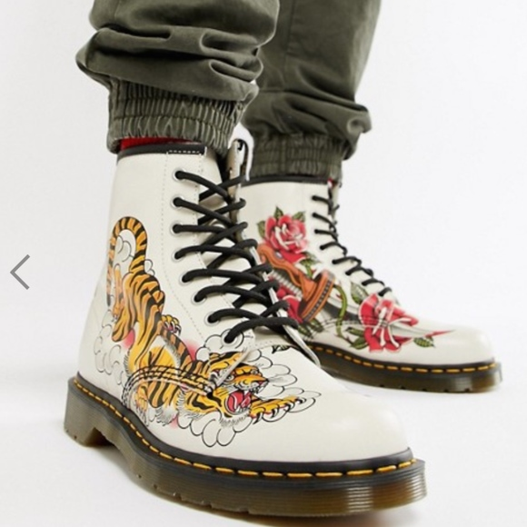 cheap prices stable quality wholesale outlet Rare Dr Martens x Grez 1460 boots in tattoo print